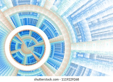 Intricate blue, green and brown target / disc design (3D illustration, white background)