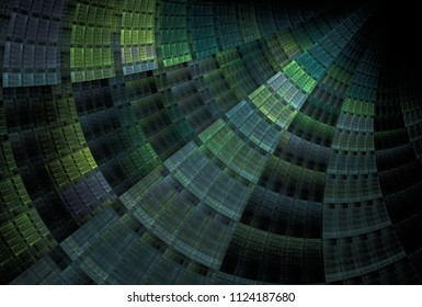 Intricate blue, green and teal abstract woven, curved ripple design (3D illustration, black background)