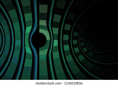 Intricate blue, green and teal curved / hole design (3D illustration, black background)