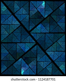 Intricate blue, green and teal woven geometric design (3D illustration, black background)