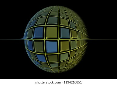 Intricate blue and green woven square sphere (3D illustration, black background)