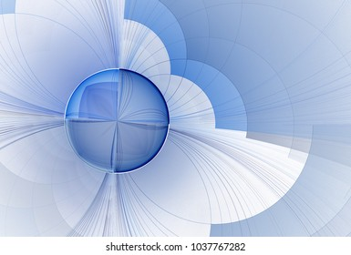 Intricate blue and grey abstract orb (3D illustration, white background)