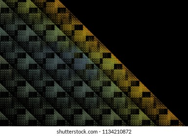 Intricate blue, orange, green and grey woven checkered diagonal strips (3D illustration, black background)