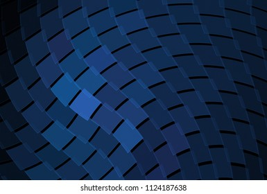 Intricate blue and purple geometric wave design (3D illustration, black background)