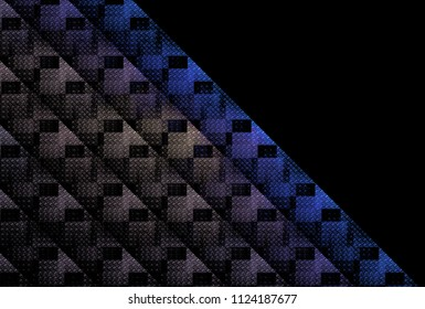 Intricate blue, purple and silver woven checkered diagonal strips (3D illustration, black background)