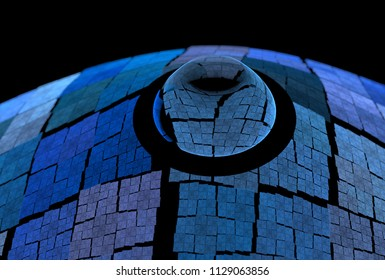 Intricate blue and teal abstract droplet / bulge design (3D illustration, black background)