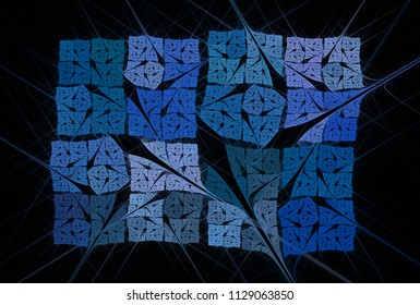Intricate blue and teal abstract woven / fabric design (3D illustration, black background)