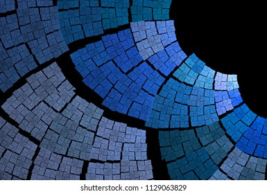 Intricate blue, teal and silver woven curved patchwork design (3D illustration, black background)