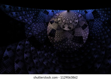 Intricate blue and white woven disc design (3D illustration, black background)