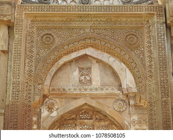 Intricate carving at the entrance of Jami Masjid, Champaner-Pavagadh Archaeological Park, Gujarat, India