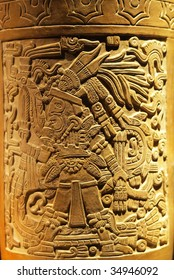 Intricate carving on vase made by the ancient Aztec of Tenochtitlan, Mexico City, Mexico.