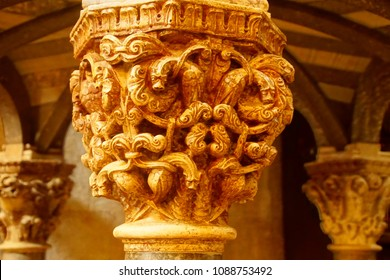 Intricate carvings of Corinthian column capitals in St Lawrence Cathedral, Trogir, Croatia
