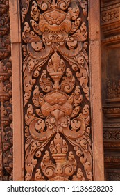 Intricate carvings cover the walls of the temple at Banteay Srei Cambodia