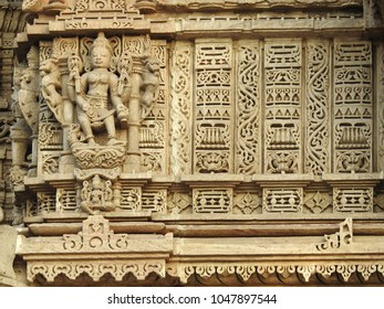 Intricate carvings on Hatheesing Jain temple, which is located in Ahmedabad, Gujarat, India. The temple is dedicated to Dharmanatha, the fifteenth Jain Tirthankar.