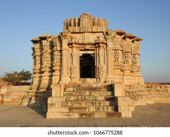 Intricate carvings still visible on ruins of Adbutanatha temple at Chittorgarh fort in Rajasthan, India. This temple was dedicated to Lord Shiva.