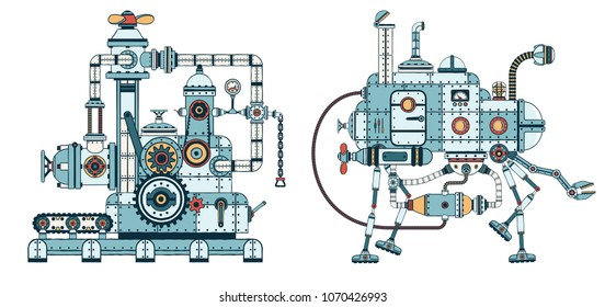 Intricate complex steampunk machines, robots with a multitude of pipes, parts, mechanisms.