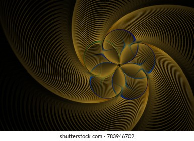 Intricate copper and blue ripple flower design (3D illustration, black background)