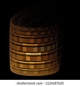 Intricate copper, gold and brown abstract curved barrel (3D illustration, black background)