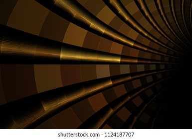 Intricate copper, gold and brown curved pipe / web design (3D illustration, black background)