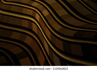 Intricate copper / gold smooth wavy striped design (3D illustration, black background)