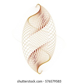 Intricate copper, orange and peach abstract woven cocoon on white background