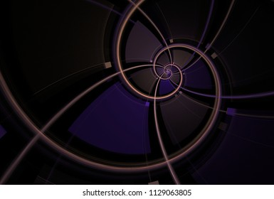 Intricate copper and purple abstract spiral (3D illustration, black background)