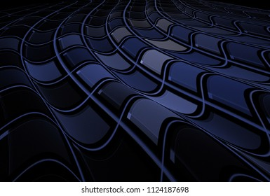 Intricate curved blue and grey abstract checkered wave design (3D illustration, black background)