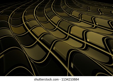 Intricate curved brown abstract checkered wave design (3D illustration, black background)