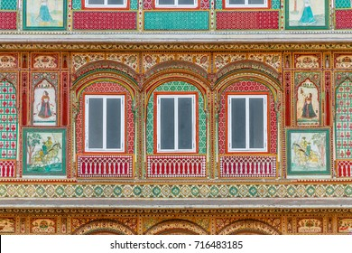 The intricate facade of a shop in old Jaipur, India.