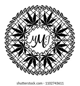 Intricate and funky cannabis theme mandala with space for monogram, hand drawn, file organized for easy editing.