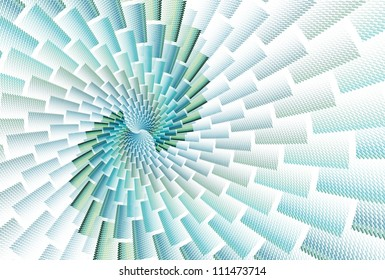 Intricate green / blue abstract brick spiral design on white background