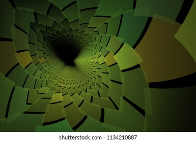 Intricate green, lime and brown abstract spiky fractal flower (3D illustration, black background)