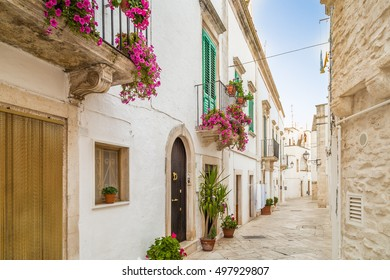 the intricate lanes of whitewashed houses of Locorotondo, a town of Apulia in Italy