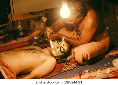 The intricate makeup of a kathakali artist being applied on May 19,2018 in Bengaluru,India