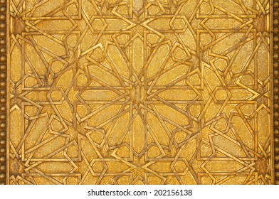 Intricate metal filigree on a gate to the palace of the king of Morocco