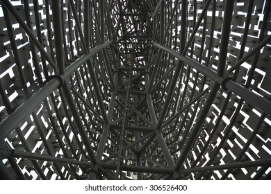 Intricate Metal Structure â?? Inside a metal structure looking at the steelwork