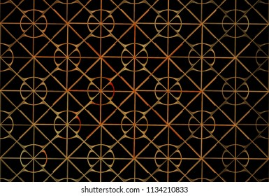 Intricate orange and red abstract woven flower / diamond lattice design (3D illustration, black background)