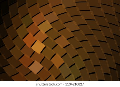 Intricate orange and yellow geometric wave design (3D illustration, black background)