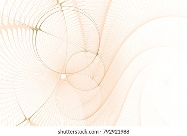 Intricate peach / orange ripple / woven disc design (3D illustration, white background)