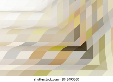 Intricate peach, yellow and grey abstract geometric frame design (3D illustration, white background)