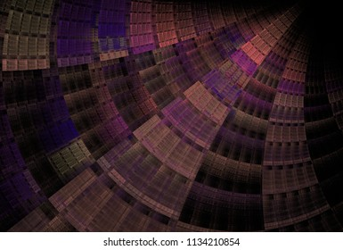 Intricate pink, peach and magenta abstract woven, curved ripple design (3D illustration, black background)
