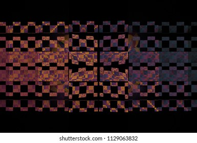 Intricate pink, peach, purple and blue abstract checkered striped design (3D illustration, black background)