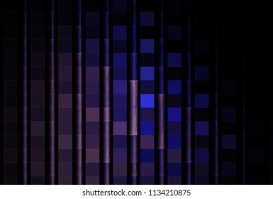 Intricate pink, purple and blue abstract 3D vertical pole design (3D illustration, black background)