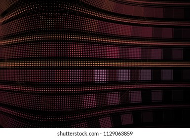 Intricate pink, purple, gold and copper wavy geometric design (3D illustration, black background)