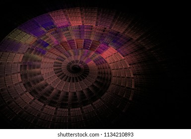 Intricate pink, purple and lime abstract woven spiral design (3D illustration, black background)