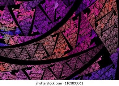 Intricate pink, purple and peach abstract curved woven design (3D illustration, black background)