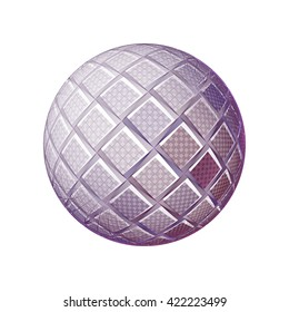 Intricate pink, purple and peach abstract woven sphere on white background