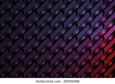 Intricate pink, purple and red abstract woven design on black background