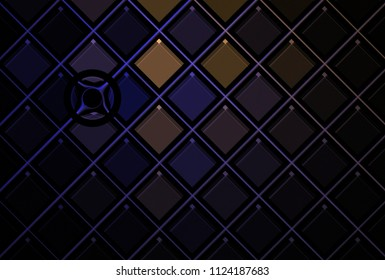 Intricate purple, copper and silver abstract shiny diamond / disc pattern (3D illustration, black background)