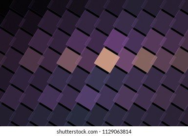 Intricate purple, lilac and peach diagonal square stripes (3D illustration, black background)